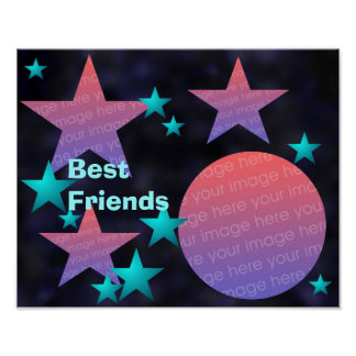 Moon and Stars Photo Frame Poster