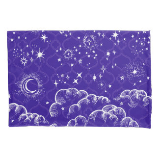 """""""Moon and Stars"""" Pillow Case (WH/BLU/PUR)"""