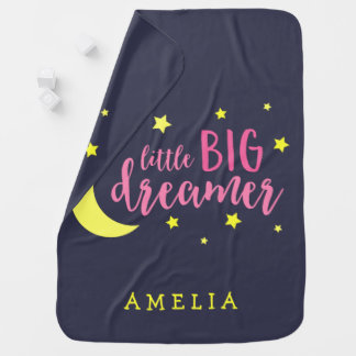 Moon and Stars Pink Little Big Dreamer Baby Blanket