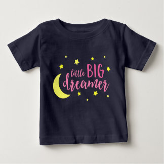 Moon and Stars Pink Little Big Dreamer Baby T-Shirt