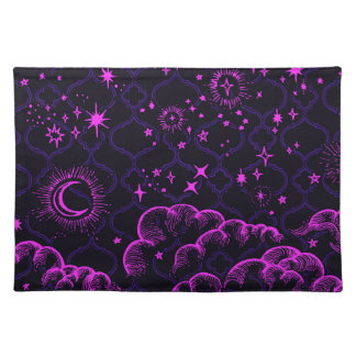 """""""Moon and Stars"""" Placemats 20x14 (PK/BLK/PUR)"""