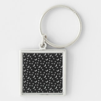 Moon and Stars Silver-Colored Square Keychain