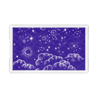 """""""Moon and Stars"""" Small Vanity Tray (WH/BLU/PUR)"""