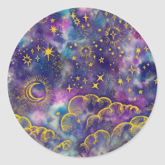 """Moon and Stars"" Sticker (Gold-Etc)"