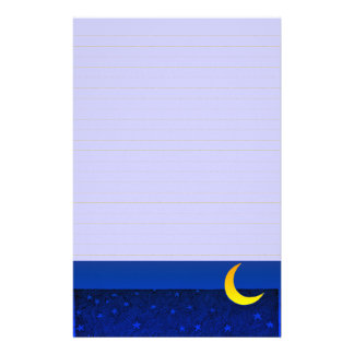 Moon and Stars Vintage Art Lined Stationery