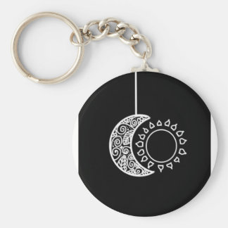 Moon and sun basic round button keychain