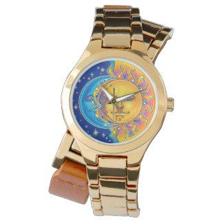 moon and sun gold wraparound watch