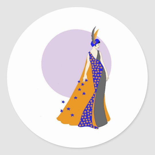 Moon and the Stars Classic Round Sticker