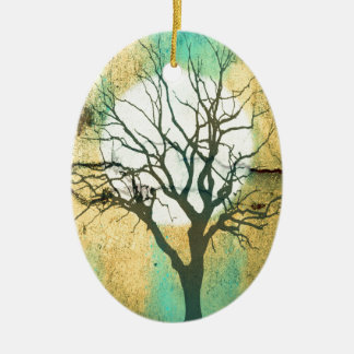 Moon and Tree Landscape in Turquoise Glow Ceramic Oval Ornament