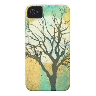 Moon and Tree Landscape in Turquoise Glow iPhone 4 Covers