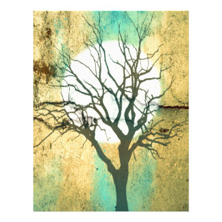 Moon and Tree Landscape in Turquoise Glow Letterhead
