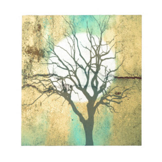 Moon and Tree Landscape in Turquoise Glow Notepad