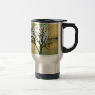 Moon and Tree Landscape in Turquoise Glow Travel Mug