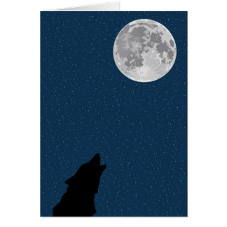 Moon and Wolf Birthday Card