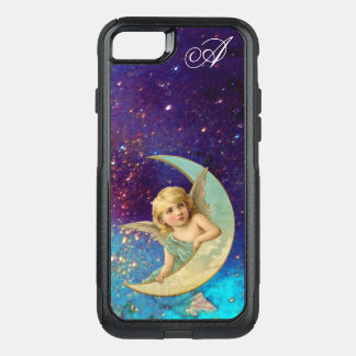 MOON ANGEL IN BLUE GOLD SPARKLES Monogram OtterBox Commuter iPhone 7 Case