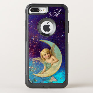 MOON ANGEL IN BLUE GOLD SPARKLES Monogram OtterBox Commuter iPhone 7 Plus Case