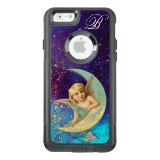 MOON ANGEL IN BLUE GOLD SPARKLES Monogram OtterBox iPhone 6/6s Case