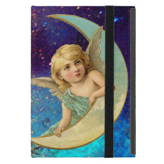 MOON ANGEL IN BLUE GOLD YELLOW SPARKLES CASE FOR iPad MINI