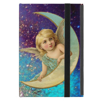 MOON ANGEL IN BLUE GOLD YELLOW SPARKLES COVER FOR iPad MINI