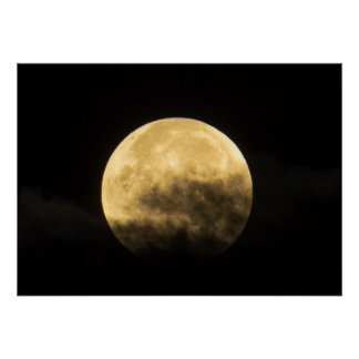Moon Behind Thin Clouds Poster