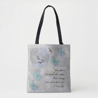 Moon Birds Aqua Fly Escape Rumi Collage Tote Bag