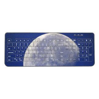 Moon -Blue Sky Background Wireless Keyboard