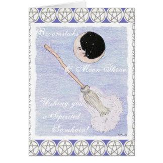 Moon & Broom Spirited Samhain Pentacle Card