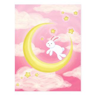 Moon Bunny Pink Postcard