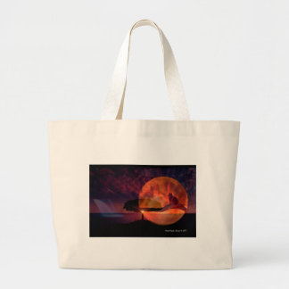 Moon cat meditations. large tote bag
