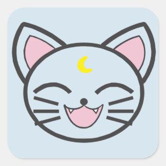 moon cat square sticker