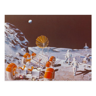 Moon colony with rover postcard