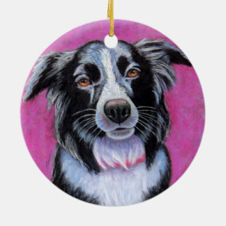 Moon Dog, Border Collie Round Ceramic Ornament