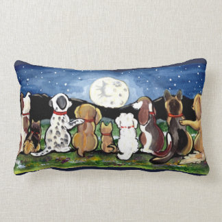 Moon Dogs at Night Designer Pillow Original Art
