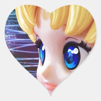 Moon Doll Heart Sticker