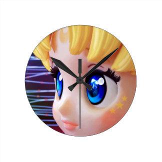 Moon Doll Round Clock