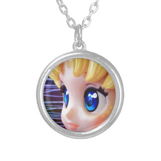 Moon Doll Silver Plated Necklace