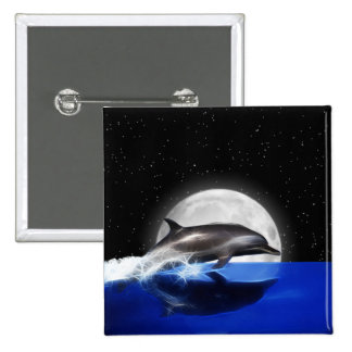 Moon Dolphin 2 Inch Square Button