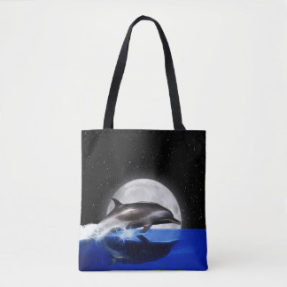 Moon Dolphin Tote Bag