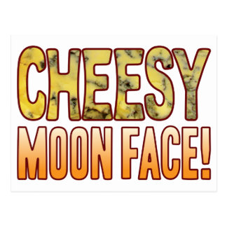Moon Face Blue Cheesy Postcard