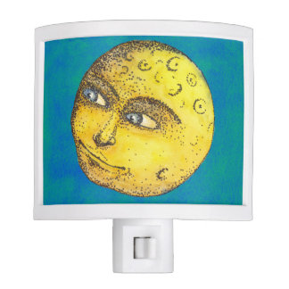 Moon Face on Blue/Green Nite Light