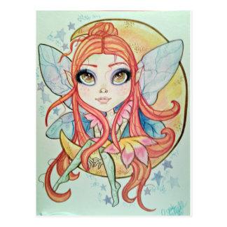 Moon Fairy Big Eye Fantasy Art Postcard