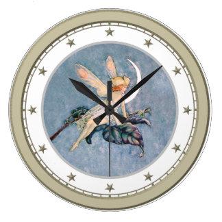 Moon Fairy Silver Star Clock