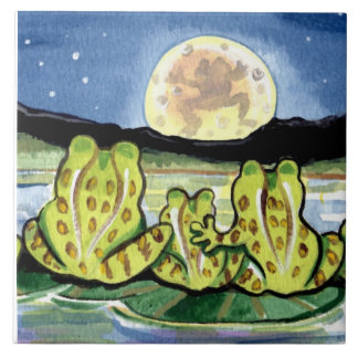 "Moon Frogs Family Night  Pond 6"" Tile Trivet"