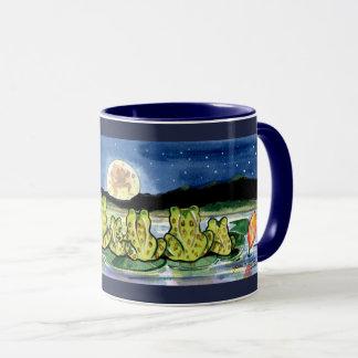 Moon Frogs Family Night Time Design Dark Blue Mug