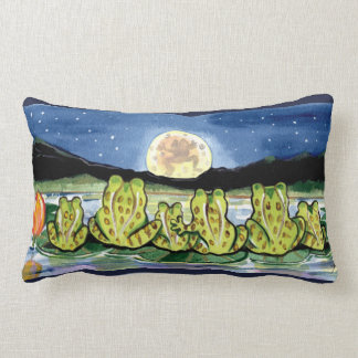 Moon Frogs Family Night Time Designer Pillow