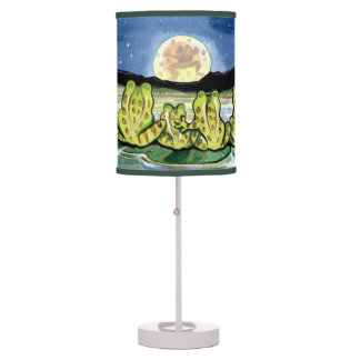 """Moon Frogs"" Lamp, Frog Family Watching the Moon Table Lamp"