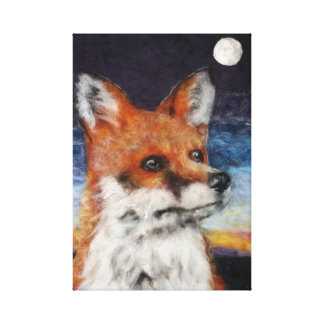 Moon Gazing Fox Canvas