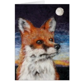 Moon Gazing Fox Greetings Card