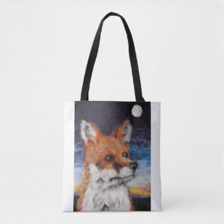 Moon Gazing Fox Tote Shopping Bag