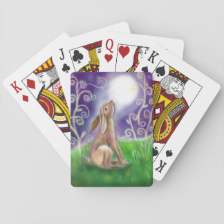 Moon gazing hare illustration playing cards